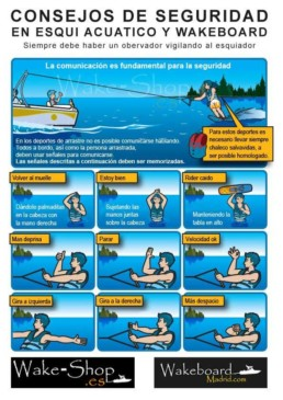 Señakes en wakeboard y esqui acuatico